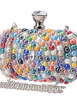cheap -Women's Crystals Acrylic / Polyester Evening Bag Color Block Champagne / Rainbow