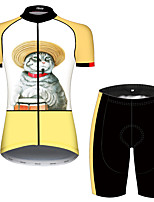 Недорогие -21Grams Жен. С короткими рукавами Велокофты и велошорты Оранжевый + белый Кот Пэчворк Животное Велоспорт Наборы одежды Дышащий 3D / Слабоэластичная / Быстровысыхающий / Горные велосипеды / 3D-панель