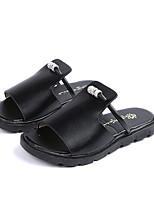 cheap -Women's Slippers & Flip-Flops Flat Heel Round Toe PU Summer Black / Brown / White