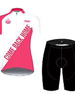 cheap -21Grams Women's Short Sleeve Cycling Jersey with Shorts Pink / Black Bike Breathable Quick Dry Sports Patterned Mountain Bike MTB Road Bike Cycling Clothing Apparel / Micro-elastic