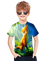 cheap -Kids Boys' Active Punk & Gothic 3D Plaid Fox Short Sleeve Tee Green