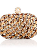 cheap -Women's Crystals / Chain Acrylic / Polyester Evening Bag Striped Gold / Silver / Blue