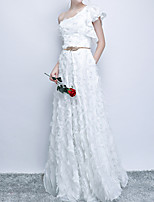 cheap -A-Line One Shoulder Floor Length Polyester Elegant / White Prom / Party Wear Dress with Appliques 2020