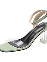 cheap -Women's Sandals Transparent Shoes Chunky Heel Square Toe PU Summer Green / Black