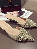 cheap -Women's Sandals Low Heel Pointed Toe PU Summer Almond / Black