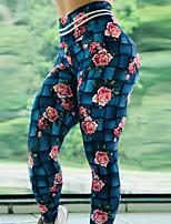 cheap -Women's High Waist Yoga Pants Winter Floral Print Dark Blue Elastane Running Fitness Gym Workout Tights Leggings Sport Activewear Breathable Moisture Wicking Butt Lift Tummy Control High Elasticity
