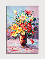 cheap -Hand Painted Canvas Oilpainting Impression Flower in Vase Home Decoration with Frame Painting Ready to Hang