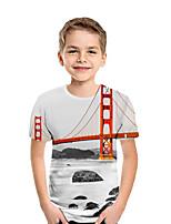 cheap -Kids Boys' Active Street chic Print Patchwork Print Short Sleeve Tee Light gray