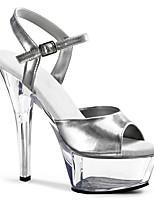 cheap -Women's Sandals Stiletto Heel Peep Toe PU British Summer Silver / Black