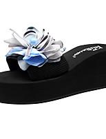 cheap -Women's Slippers & Flip-Flops Wedge Heel Open Toe Bowknot / Imitation Pearl / Satin Flower Polyester Sweet / Minimalism Walking Shoes Summer Light Blue