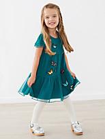 cheap -Kids Girls' Cute Street chic Geometric Embroidered Patchwork Short Sleeve Knee-length Dress Blue