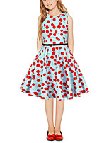 cheap -Kids Girls' Vintage Cute Cherry Fruit Patchwork Print Sleeveless Above Knee Dress Blue