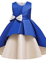 Недорогие -Дети Девочки Активный Милая Пэчворк Бант Пэчворк Без рукавов До колена Платье Винный