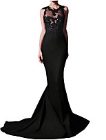 cheap -Mermaid / Trumpet Jewel Neck Sweep / Brush Train Polyester Sexy / Black Engagement / Formal Evening Dress with Appliques 2020