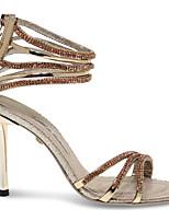 cheap -Women's Sandals Stiletto Heel Open Toe Synthetics Summer Gold