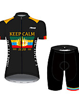 cheap -21Grams Women's Short Sleeve Cycling Jersey with Shorts Black / Yellow Bike Breathable Quick Dry Sports Patterned Mountain Bike MTB Road Bike Cycling Clothing Apparel / Micro-elastic
