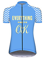 cheap -21Grams Women's Short Sleeve Cycling Jersey 100% Polyester Blue+Yellow Bike Jersey Top Mountain Bike MTB Road Bike Cycling UV Resistant Breathable Quick Dry Sports Clothing Apparel / Stretchy
