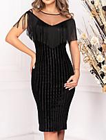 cheap -Women's Black Dress Sheath Solid Color S M