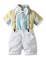 cheap -Toddler Boys' Basic Birthday Party Party & Evening Striped Short Sleeve Regular Regular Clothing Set White