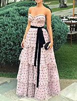 cheap -A-Line Sweetheart Neckline Floor Length Polyester Sexy / Pink Engagement / Prom Dress with Sash / Ribbon / Tier / Pattern / Print 2020
