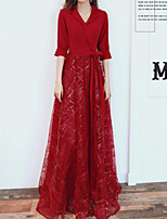 cheap -A-Line V Neck Floor Length Spandex / Lace Sparkle / Red Engagement / Formal Evening Dress with Sequin / Bow(s) 2020
