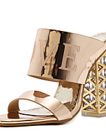 cheap -Women's Sandals Chunky Heel Round Toe PU Spring & Summer Black / Champagne / Gold