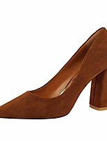 cheap -Women's Heels Chunky Heel Closed Toe Faux Leather Casual / Minimalism Spring / Summer Black / Camel / Red