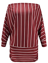cheap -Women's Daily Tunic - Striped / Solid Colored Wine