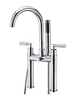 cheap -Bathtub Faucet Electroplated Free Standing Ceramic Valve Bath Shower Mixer Taps