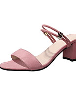 cheap -Women's Sandals Chunky Heel Round Toe Suede Spring & Summer Black / Pink / Khaki