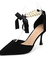 cheap -Women's Heels Stiletto Heel Pointed Toe Suede Spring & Summer Black / Nude