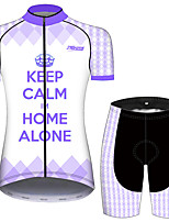cheap -21Grams Women's Short Sleeve Cycling Jersey with Shorts Violet Bike Breathable Quick Dry Sports Solid Color Mountain Bike MTB Road Bike Cycling Clothing Apparel / Micro-elastic