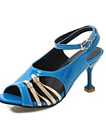 cheap -Women's Sandals Stiletto Heel Peep Toe PU Casual / Minimalism Summer Black / Almond / Blue