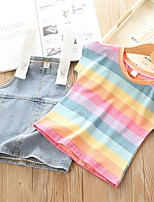 cheap -Baby Girls' Basic Striped Short Sleeve Regular Clothing Set Rainbow