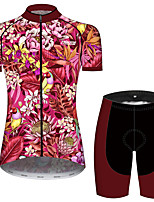 cheap -21Grams Women's Short Sleeve Cycling Jersey with Shorts Rose Red Floral Botanical Bike Breathable Quick Dry Sports Patterned Mountain Bike MTB Road Bike Cycling Clothing Apparel / Micro-elastic