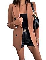 cheap -Women's Blazer, Solid Colored Notch Lapel Polyester Black / Red / Khaki