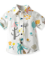 cheap -Toddler Boys' Basic Tropical Leaf Floral Short Sleeve Shirt White