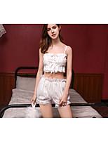 cheap -Women's Cut Out / Ruffle Uniforms & Cheongsams / Suits Nightwear Solid Colored White M L