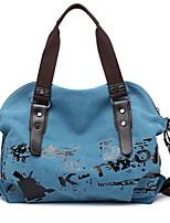 cheap -Women's Zipper Canvas Top Handle Bag Solid Color Brown / Purple / Blue