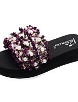 cheap -Women's Slippers & Flip-Flops Flat Heel Open Toe Imitation Pearl / Ribbon Tie Polyester Casual / Minimalism Walking Shoes Summer Black / Red / Pink