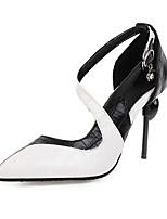 cheap -Women's Sandals Stiletto Heel Pointed Toe Buckle PU Minimalism Summer Black / Yellow / Color Block