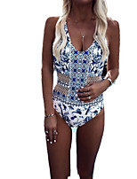 cheap -Women's Blue Bikini Swimwear Swimsuit - Floral S M L Blue