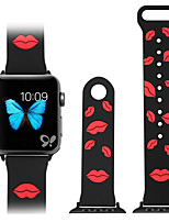 cheap -Fashion red lip glue cartoon silicone sports strap for apple iWatch watch 1/2/3/4/5 generation of gm