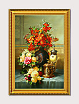 cheap -Art Print Luxury Royal Palace Wall Decor Art Antique Vintage Golden Framed  Floral Oil Painting