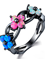 cheap -Women's Ring Synthetic Tourmaline 1pc Black Alloy Stylish Daily Jewelry Cute