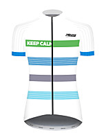 cheap -21Grams Women's Short Sleeve Cycling Jersey 100% Polyester Blue / White Bike Jersey Top Mountain Bike MTB Road Bike Cycling UV Resistant Breathable Quick Dry Sports Clothing Apparel / Stretchy