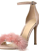 cheap -Women's Sandals Furry Feather Stiletto Heel Round Toe Feather Suede Spring & Summer Pink