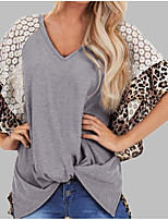 cheap -Women's Daily Casual Cotton T-shirt - Color Block / Leopard Print Green / Lace / Summer / Batwing Sleeve