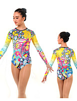 cheap -Rhythmic Gymnastics Leotards Artistic Gymnastics Leotards Women's Girls' Leotard Yellow Spandex High Elasticity Handmade Jeweled Diamond Look Long Sleeve Competition Dance Rhythmic Gymnastics