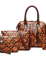 cheap -Women's Zipper PU Bag Set Color Block 3 Pcs Purse Set Black / Brown / Blue / Snakeskin
